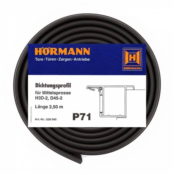 Hörmann Dichtungsprofil für Mittelsprosse H3D-2, D45-2, P71, Länge 2,50 m