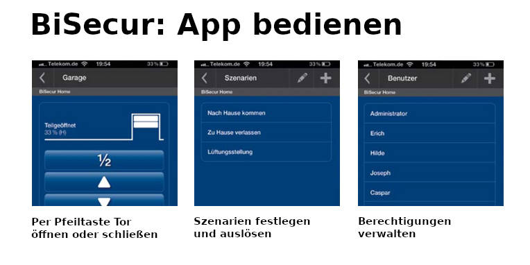 Hörmann BiSecur: App bedienen