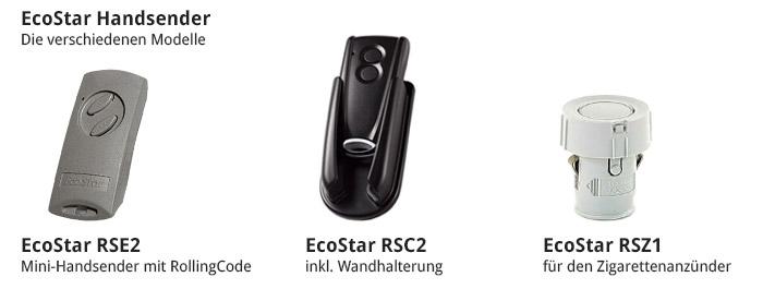 Die verschiedenen EcoStar Handsender Modelle