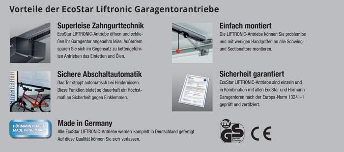 Vorteile der EcoStar Liftronic Garagentorantriebe