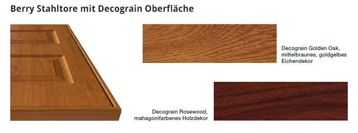 Berry Stahltore mit Decograin Oberfläche