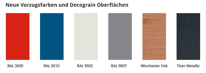 Neue Vorzugsfarben und Decograin Oberflächen
