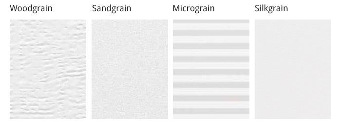 Woodgrain, Sandgrain, Micrograin und Silkgrain