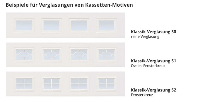 Beispiele für Verglasungen von Kassetten-Motiven