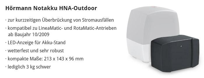 Vorteile von Hörmann Notakku HNA-Outdoor