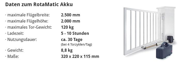 Daten zum RotaMatic Akku