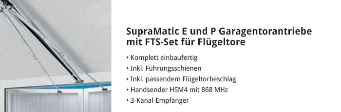 SupraMatic E und P Garagentorantriebe mit FTS-Set für Flügeltore