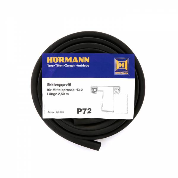 Hörmann Dichtungsprofil für Mittelsprosse H3-2-P72, Länge 2,50 Meter