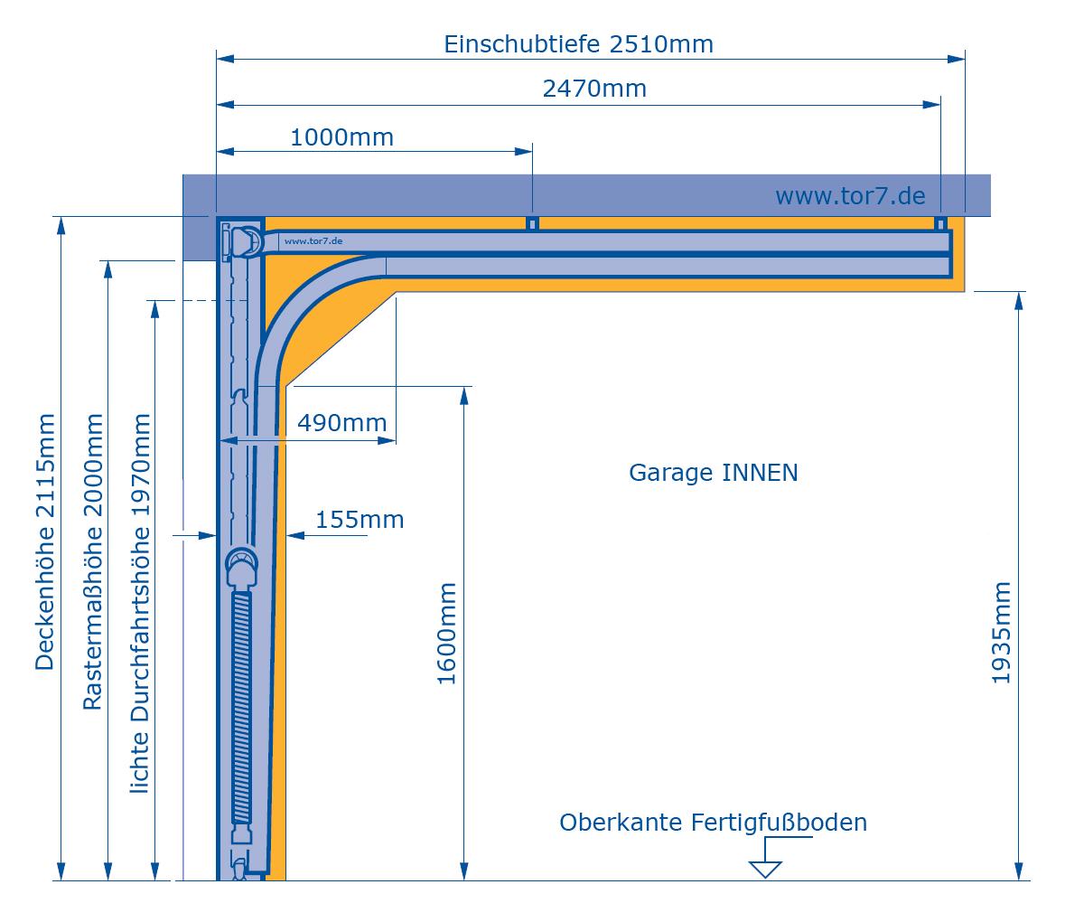 Hörmann Garagentor Massblatt 2000mm Höhe